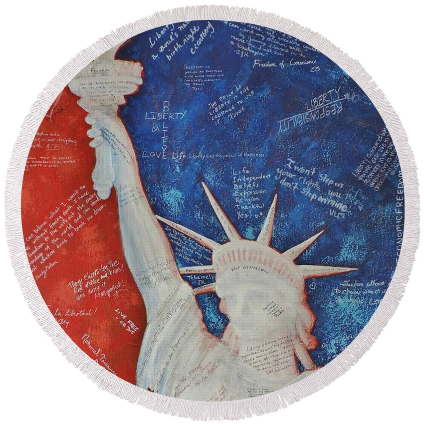 Statue Of Liberty Round Beach Towel featuring the painting Liberty Is... by Margaret Bobb