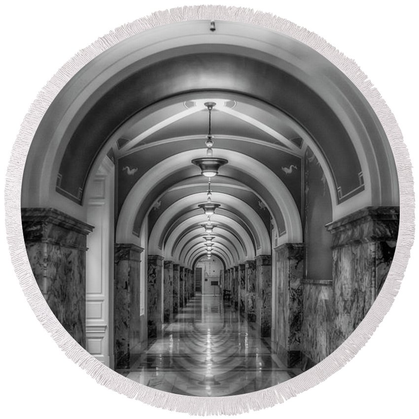 Library Of Congress Round Beach Towel featuring the photograph Library Of Congress Building Hallway Bw by Susan Candelario