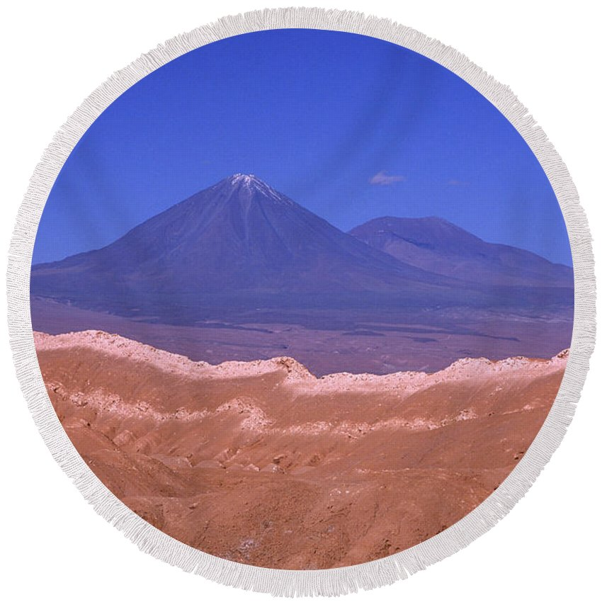 Chile Round Beach Towel featuring the photograph Licancabur Volcano Seen From The Atacama Desert Chile by James Brunker