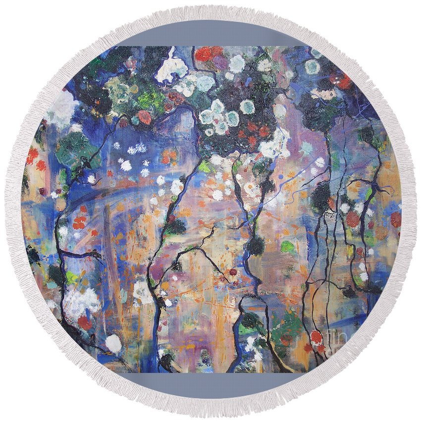 Lichen Paintings Round Beach Towel featuring the painting Lichen by Seon-Jeong Kim