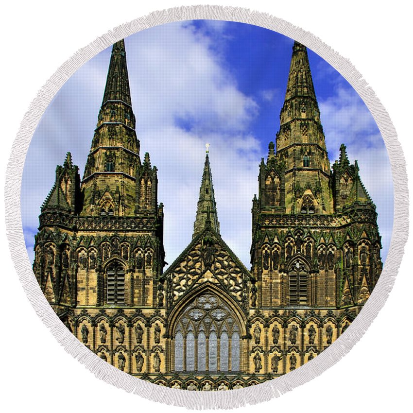Architecture Round Beach Towel featuring the photograph Lichfield Cathedral - The West Front by Rod Johnson