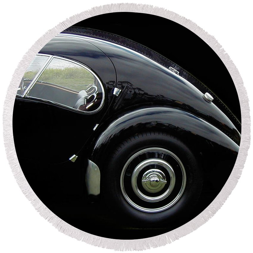 Automobile Round Beach Towel featuring the photograph Licorice Drop by Alan Olmstead