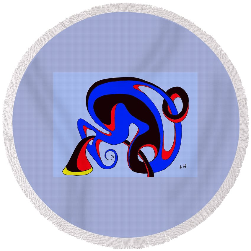 \ Round Beach Towel featuring the digital art Life Circuits by Helmut Rottler