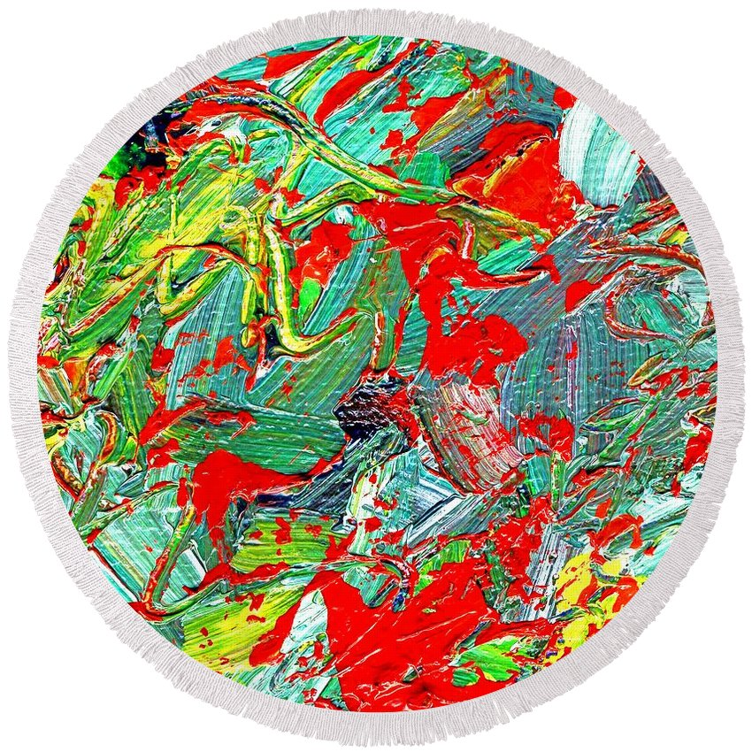 Abstracts Round Beach Towel featuring the painting Life Energy Five by Linda Mears