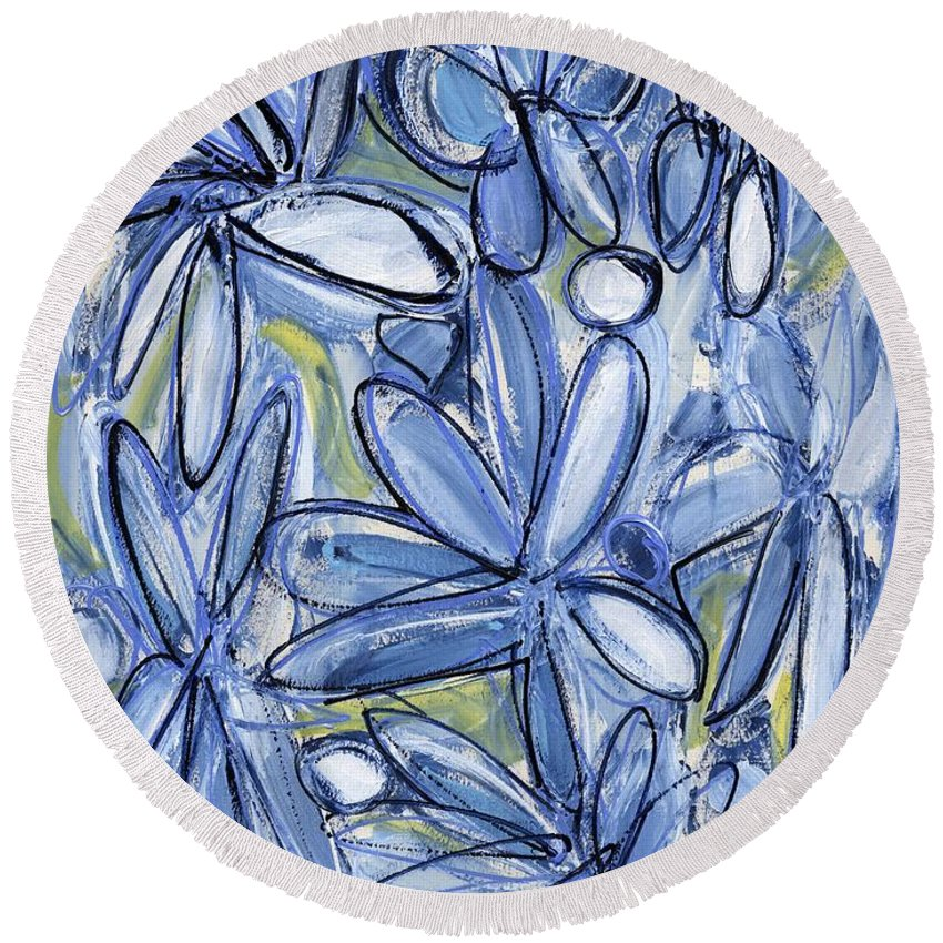 Floral Round Beach Towel featuring the painting Life Form One by Lynne Taetzsch