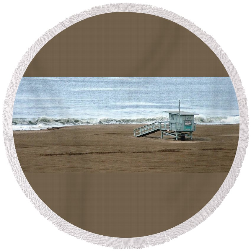 Beach Round Beach Towel featuring the photograph Life Guard Stand - Color by Shari Chavira