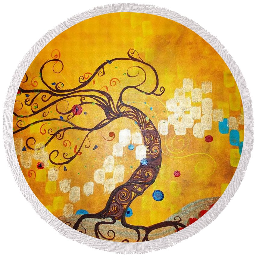 Round Beach Towel featuring the painting Life Is A Ball by Stefan Duncan