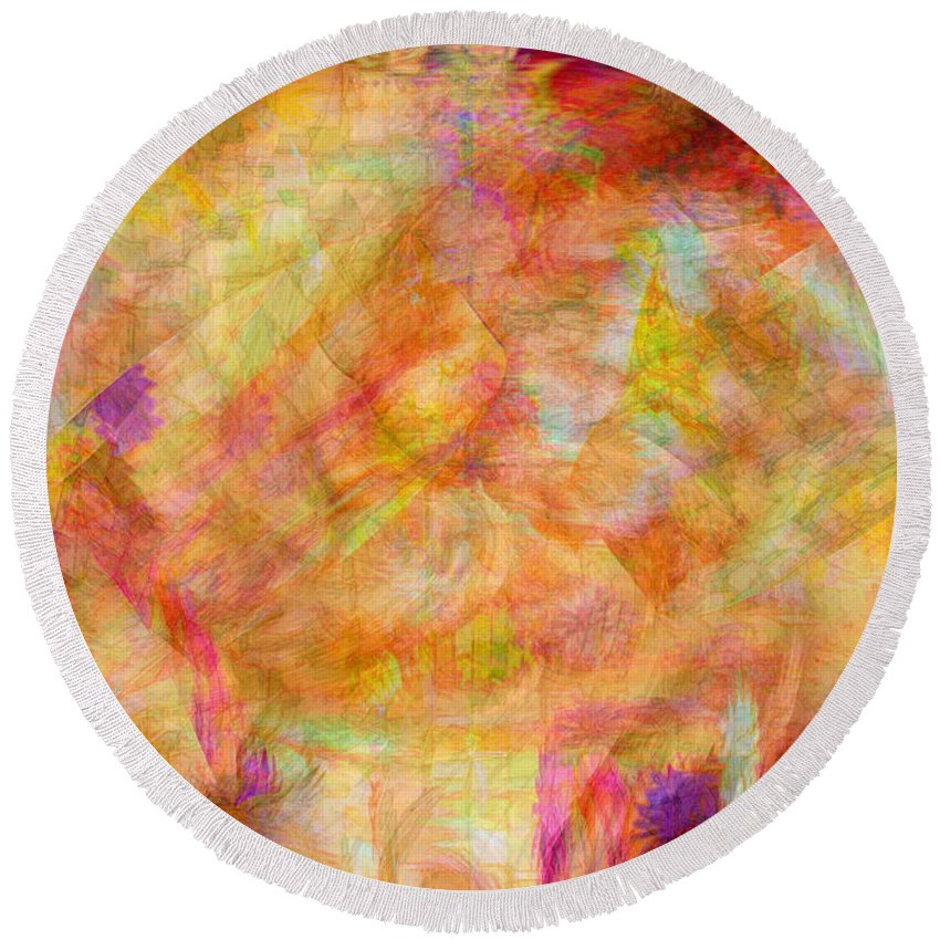 Abstracts Round Beach Towel featuring the digital art Life by Linda Sannuti