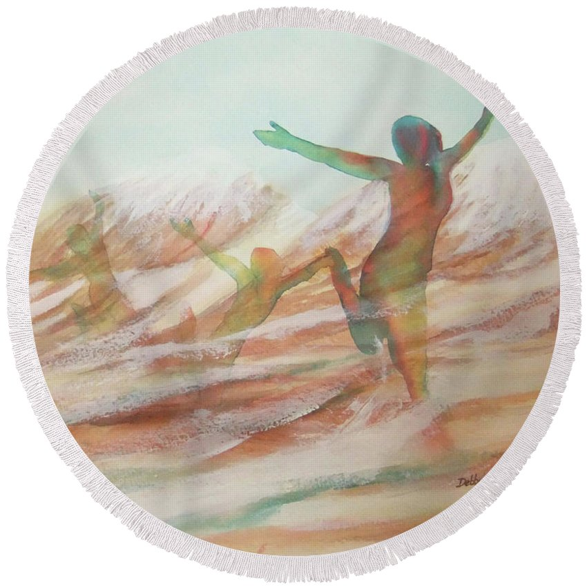 Watercolor Landscape Round Beach Towel featuring the painting Life Transcendent by Debbie Lewis