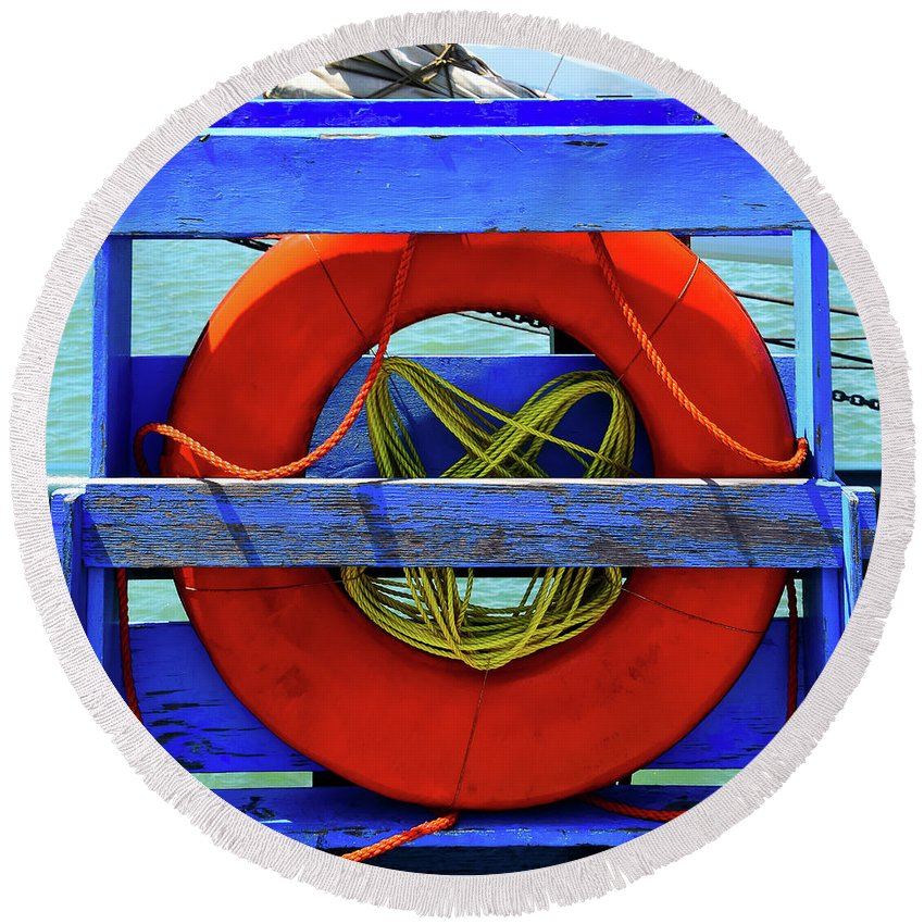 Safety Round Beach Towel featuring the photograph Lifebuoy by DoMaxPh