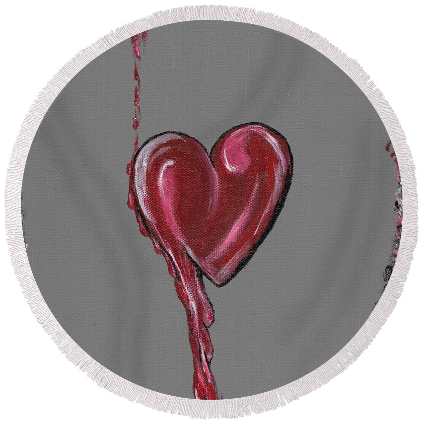 Heart Round Beach Towel featuring the painting Lifes Grey Area by Eric Atherton