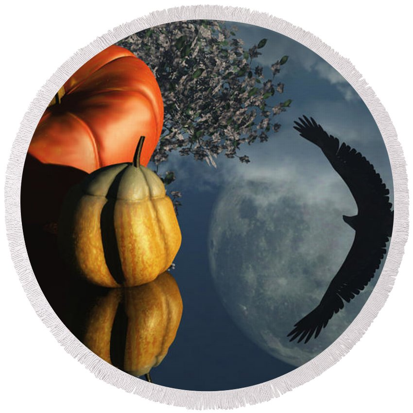 Harvest Moon Round Beach Towel featuring the digital art Life's Reflections by Richard Rizzo