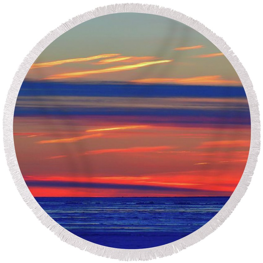 Abstract Round Beach Towel featuring the photograph Light And Dark Clouds by Lyle Crump