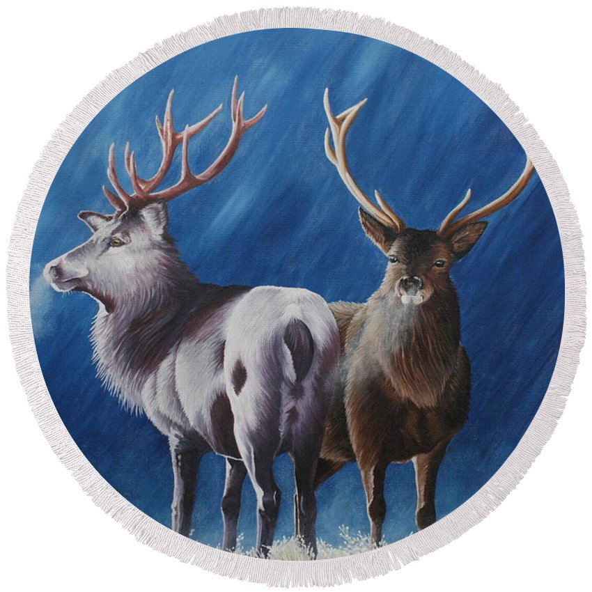 Portrait Round Beach Towel featuring the painting Light And Dark Stags by Pauline Sharp