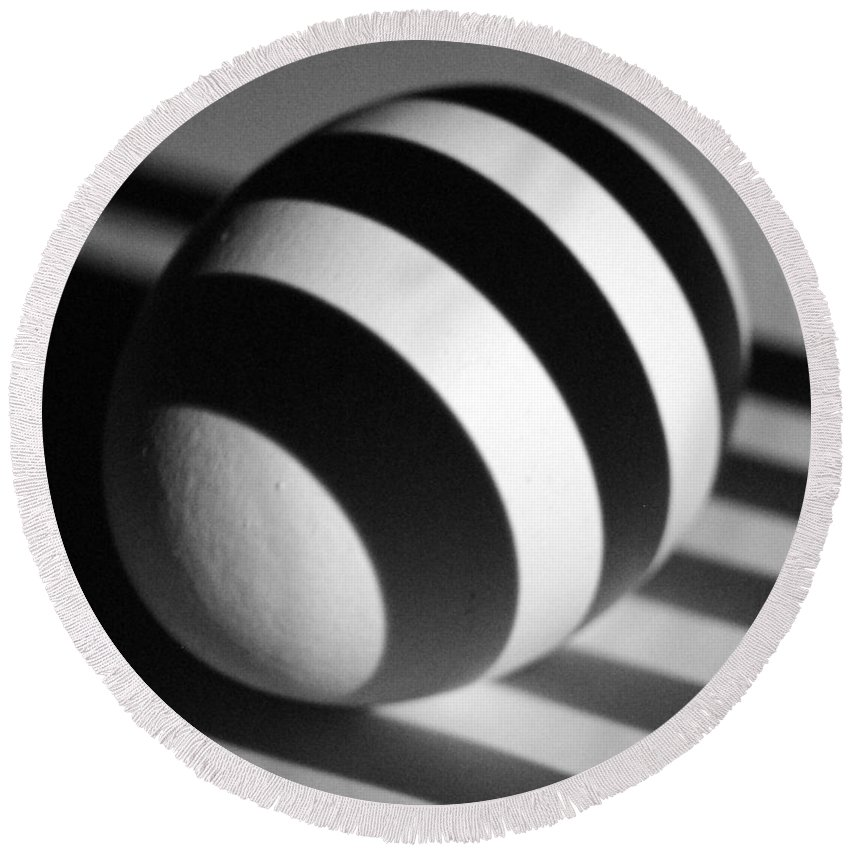 Light Round Beach Towel featuring the photograph Light And Egg 19 by Isam Awad