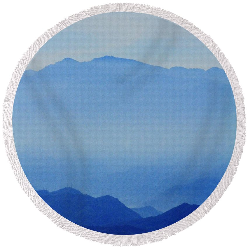 Art & Collectibles Round Beach Towel featuring the photograph Light Blue Mountains by MingTa Li