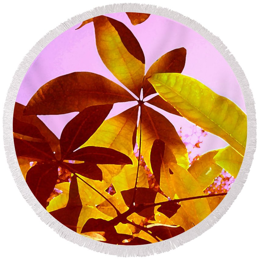 Garden Round Beach Towel featuring the painting Light Coming Through Tree Leaves 1 by Amy Vangsgard