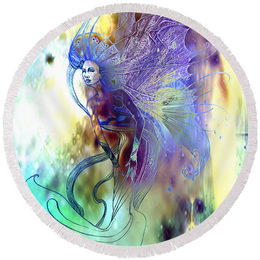 Fairy Round Beach Towel featuring the painting Light Dancer by Ragen Mendenhall