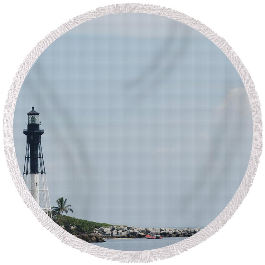 Light House Round Beach Towel featuring the photograph Light House Point by Rob Hans