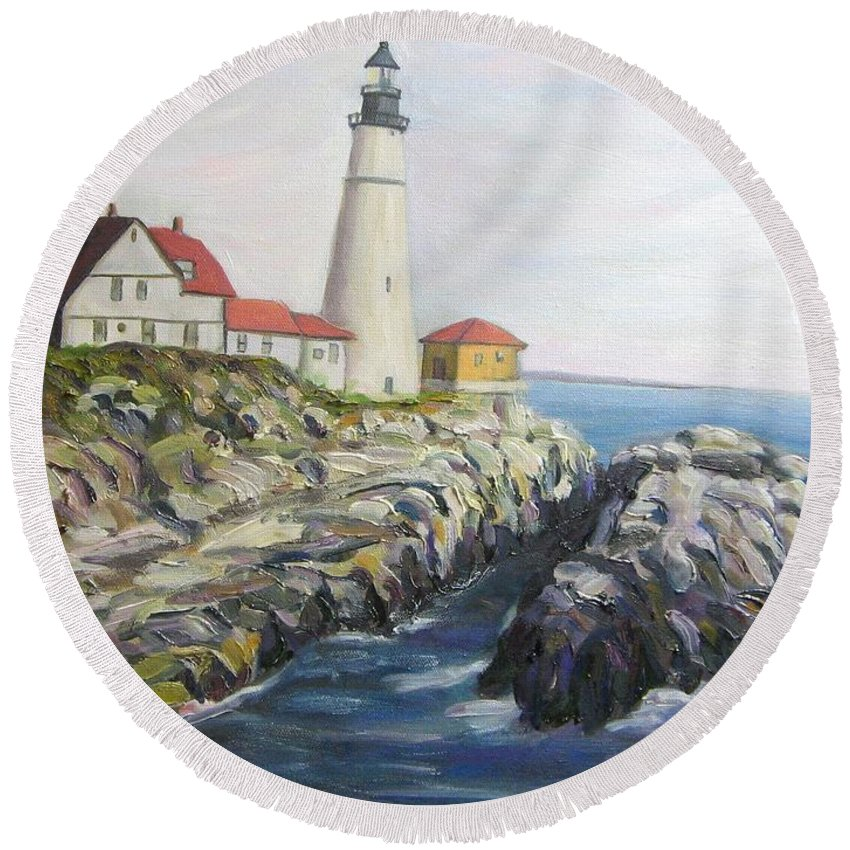 Portland Round Beach Towel featuring the painting Light House by Richard Nowak
