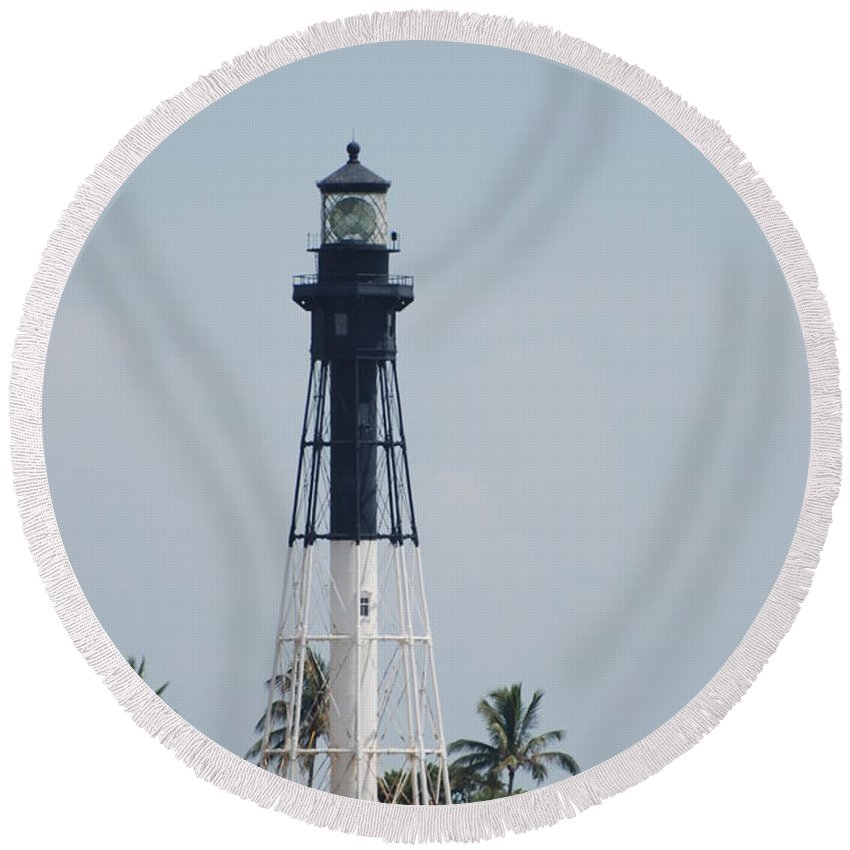 Landscape Round Beach Towel featuring the photograph Light House by Rob Hans