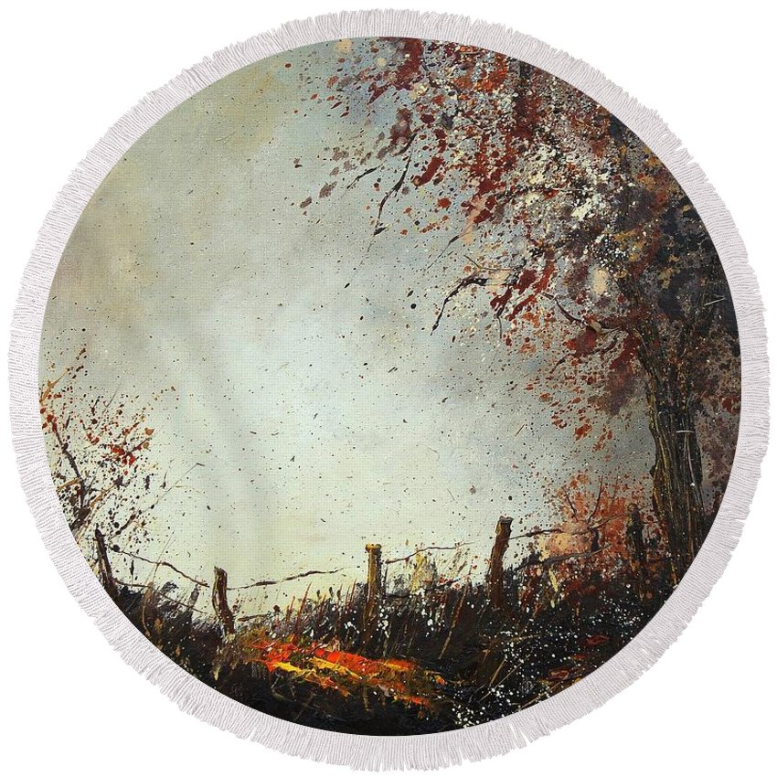 Tree Round Beach Towel featuring the painting Light In Autumn by Pol Ledent