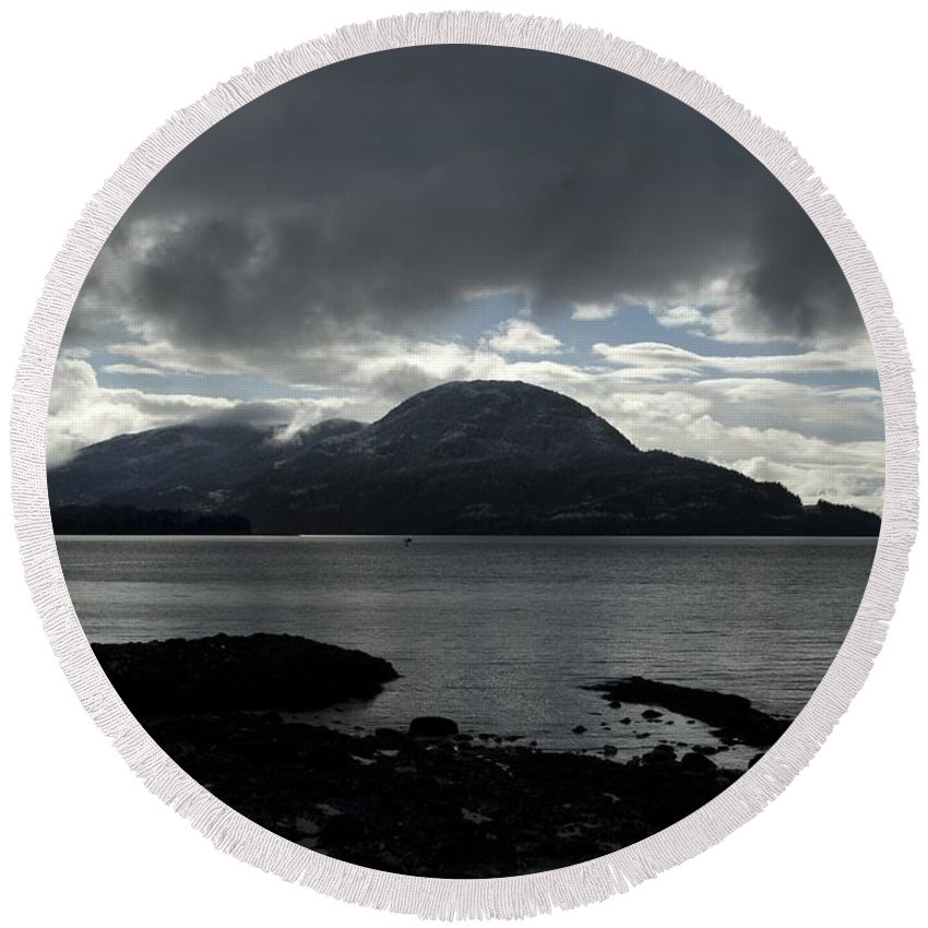 Landscape Round Beach Towel featuring the photograph Light In Darkness by Sara Stevenson
