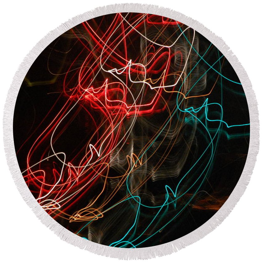 Abstract Digital Photo Round Beach Towel featuring the photograph Light In Motion by David Lane