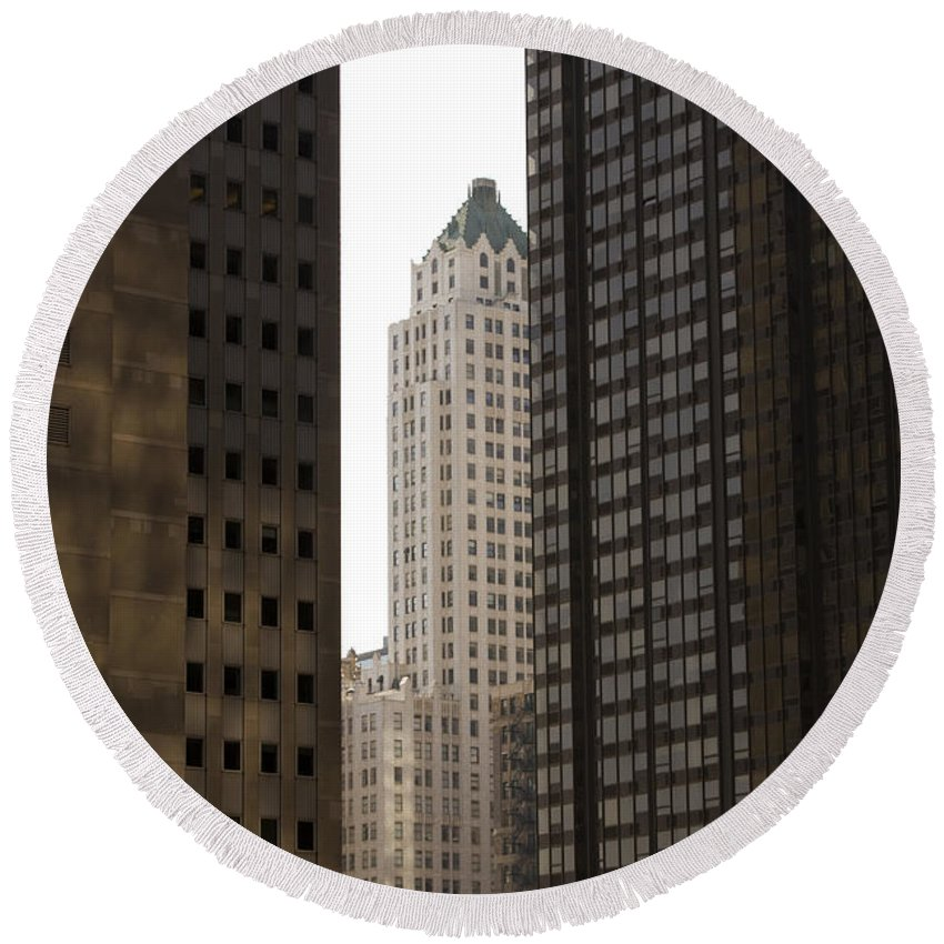 Chicago City Wind Windy Jungle Urban Metro Building Tall High Windows Skyscraper Sky Round Beach Towel featuring the photograph Light In The End by Andrei Shliakhau