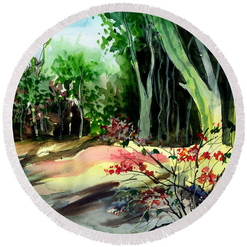 Watercolor Round Beach Towel featuring the painting Light In The Woods by Anil Nene