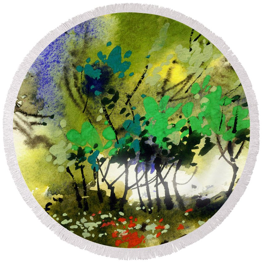 Nature Round Beach Towel featuring the painting Light In Trees by Anil Nene