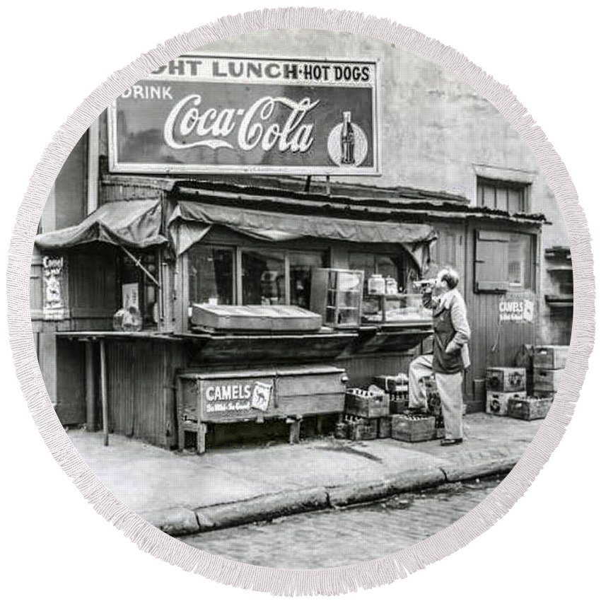 Light Round Beach Towel featuring the photograph Light Lunch - Hot Dogs - Coca Cola by Bill Cannon