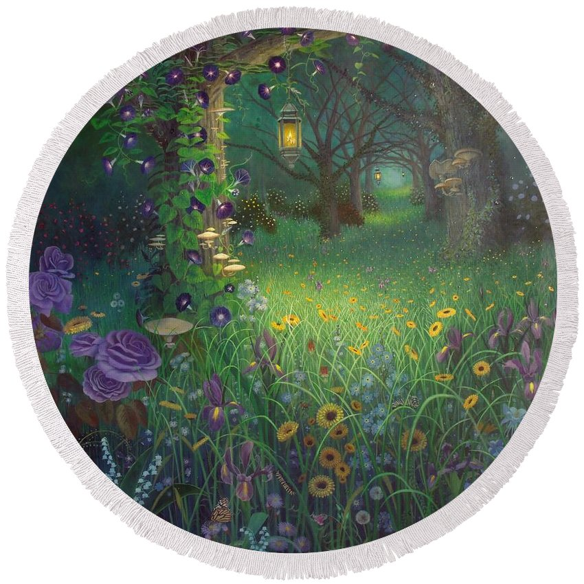 Floral Round Beach Towel featuring the painting Light My Way by Shauna Eggleston