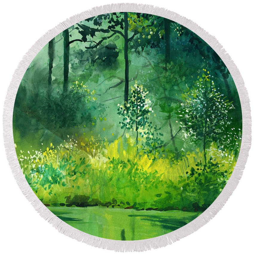 Water Round Beach Towel featuring the painting Light N Greens by Anil Nene
