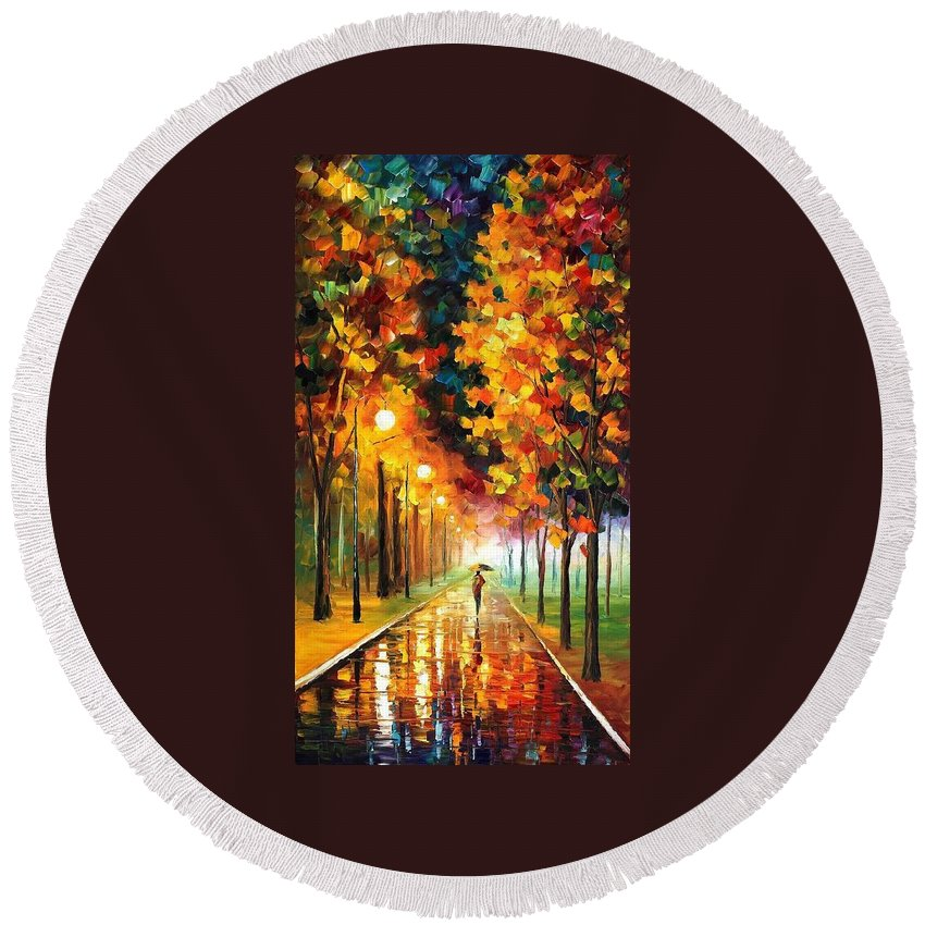 Afremov Round Beach Towel featuring the painting Light Of Autumn by Leonid Afremov