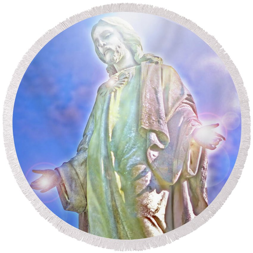 Jesus Round Beach Towel featuring the photograph Light Of Life by Marie Hicks