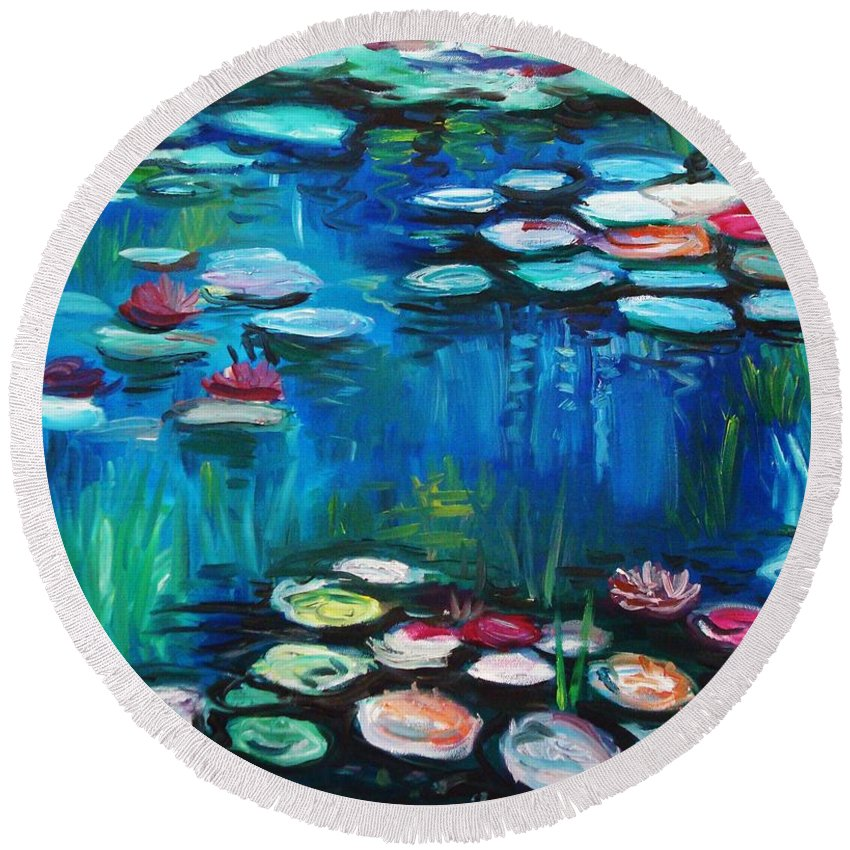 Water Lillies Round Beach Towel featuring the painting Light Of The Lillies by Elizabeth Robinette Tyndall