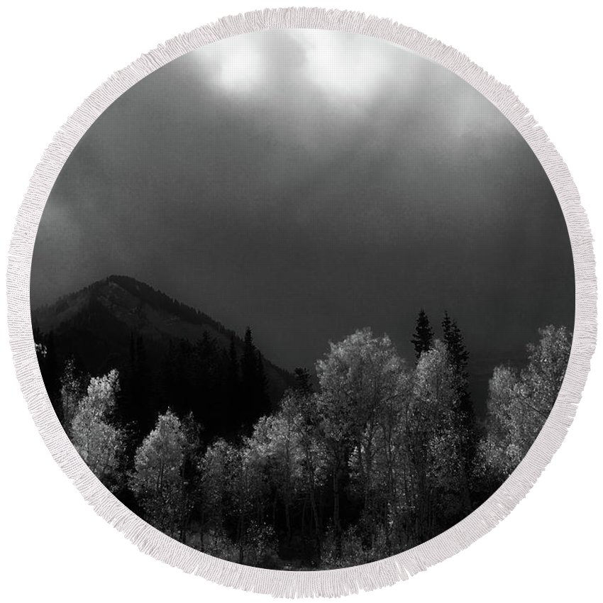 Aspen Trees Round Beach Towel featuring the photograph Light Of The Storm by Douglas Craig