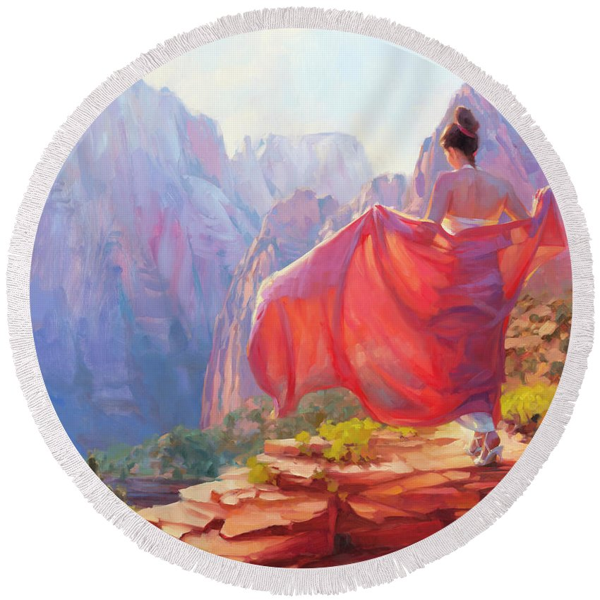 Zion Round Beach Towel featuring the painting Light Of Zion by Steve Henderson