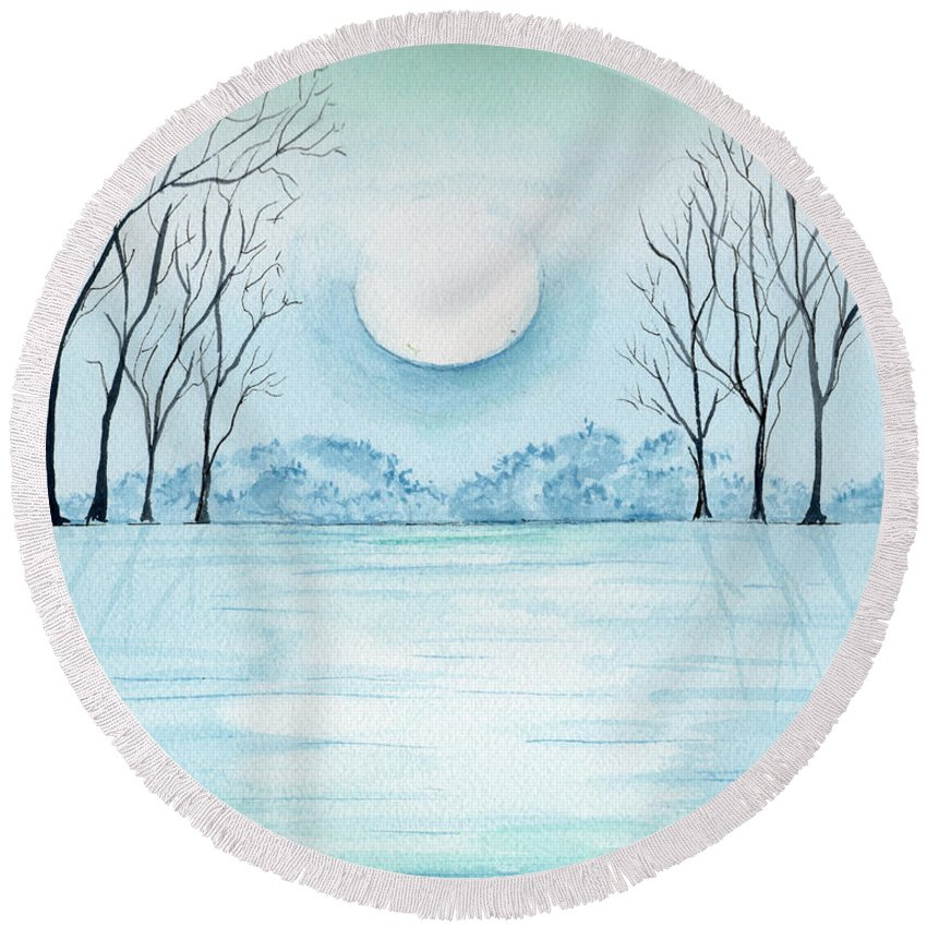 Watercolor Round Beach Towel featuring the painting Light On The Field by Brenda Owen