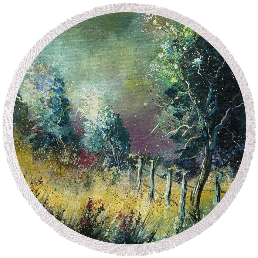 Landscape Round Beach Towel featuring the painting Light On Trees by Pol Ledent