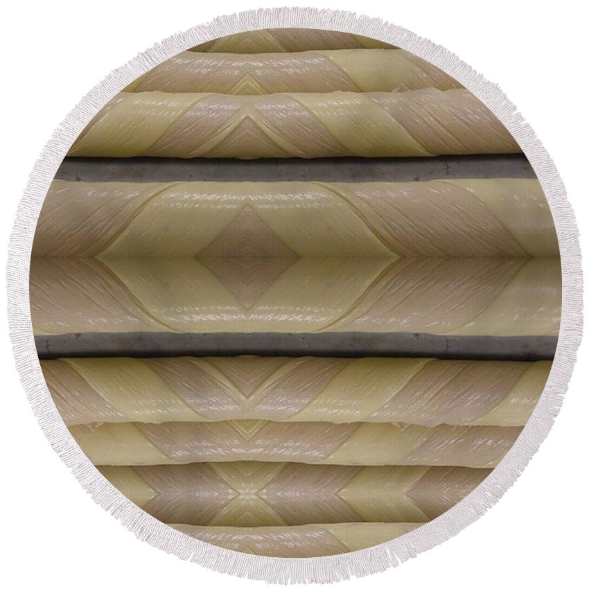 Abstract Round Beach Towel featuring the digital art Light Pole Wrap by Ron Bissett