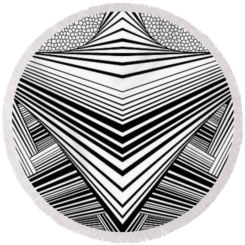 Dynamic Black And White Round Beach Towel featuring the painting Light United by Douglas Christian Larsen