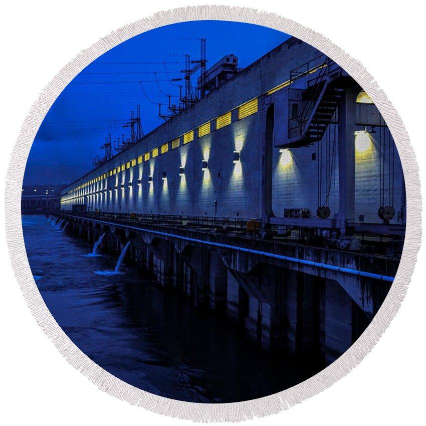 Pacific Northwest Dam Hydro Power Electricity Dark Light Round Beach Towel featuring the photograph Light Up The Dark by Garrett Hall