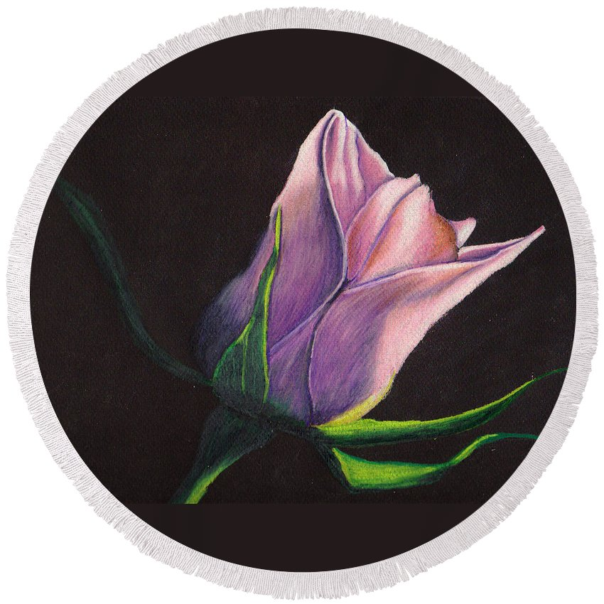 Rose Round Beach Towel featuring the painting Lighted Rose by Jay Johnston