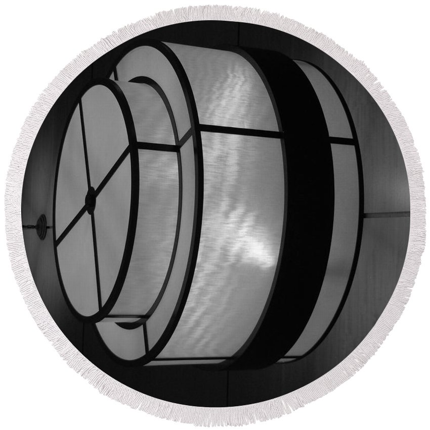 Black And White Round Beach Towel featuring the photograph Lighted Wall In Black And White by Rob Hans