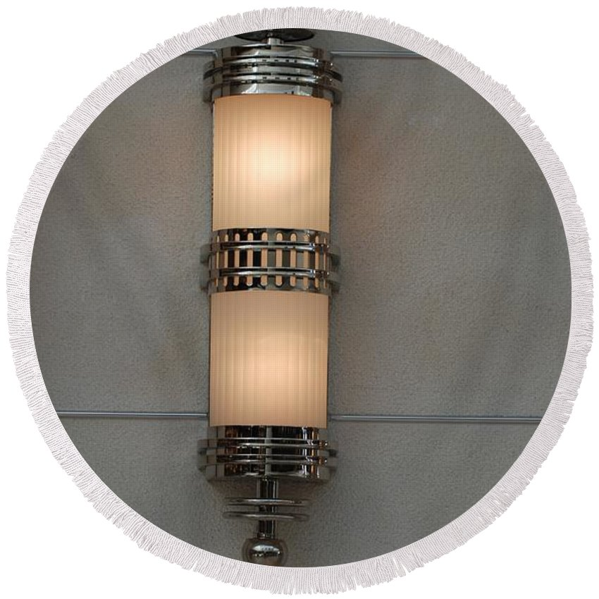 Sconce Round Beach Towel featuring the photograph Lighted Wall Sconce by Rob Hans
