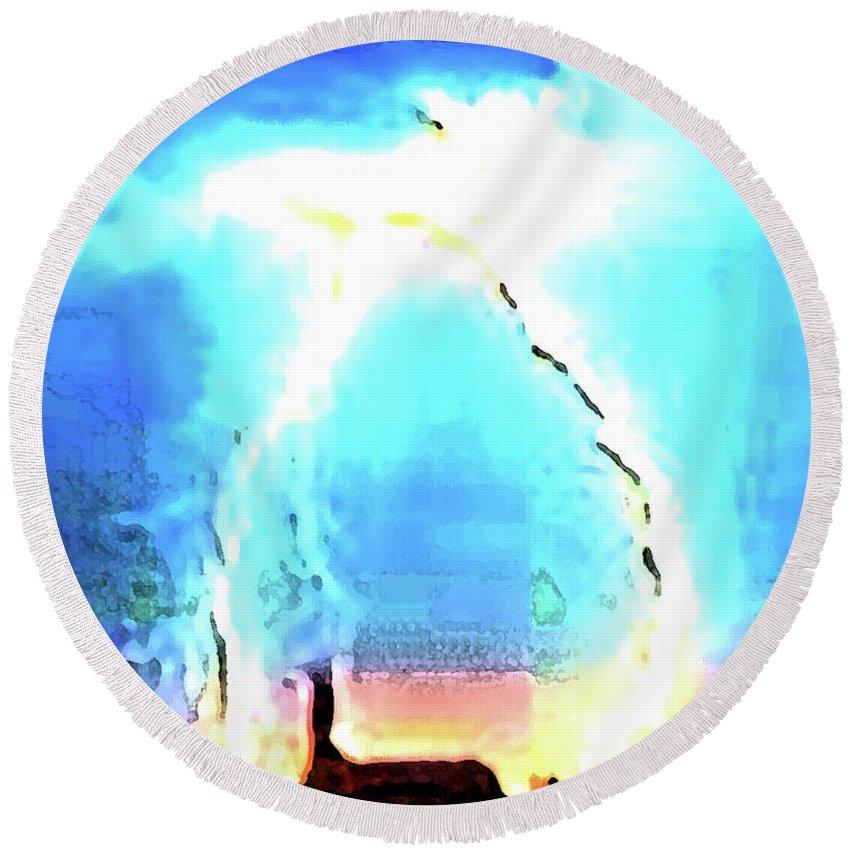 Lightenng Round Beach Towel featuring the digital art Lightening Strike by Ronald Irwin