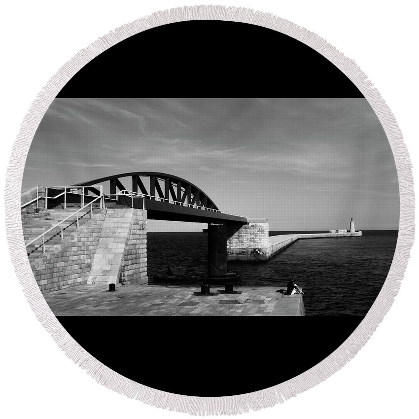 Landscape Round Beach Towel featuring the photograph Lighthouse 2 by Simone Gensini