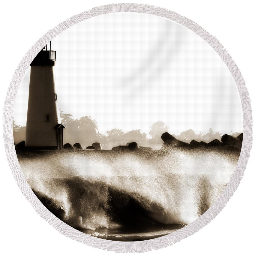 Lighthouse Round Beach Towel featuring the photograph Lighthouse 3 Dreamy by Marilyn Hunt